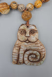 Vintage Hand Carved Asian Buddha Cat Hand Carved Stone Necklace