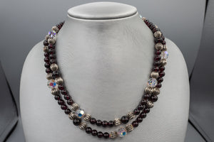 Vintage Garnet and Ribbed Sterling Silver Bead Necklace