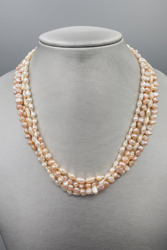 4 Strand Hand Knotted Natural Pearl Necklace