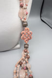 Vintage Rhodochrosite, Rose Quartz with Sterling Silver Beads Multi Strand Necklace