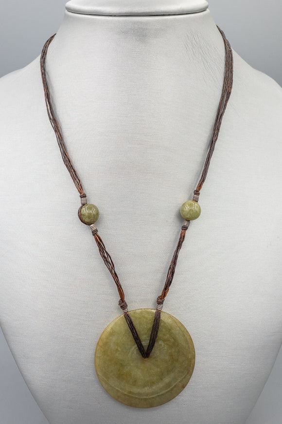 Vintage Large Disc Jade Pendant Necklace
