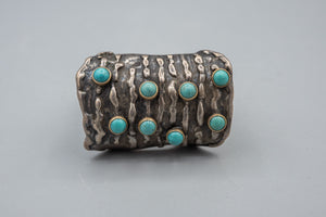 Vintage Sterling Silver & 14K Gold Turquoise Ring Native American Rare