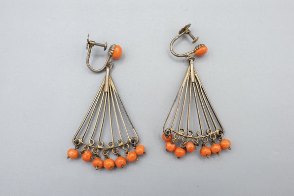 Antique French Sterling Silver Coral Cabochon Dangle Screw Back Earrings - 1930's