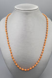 Vintage 14K Yellow Gold Natural Salmon Coral Oval Bead Strand Necklace