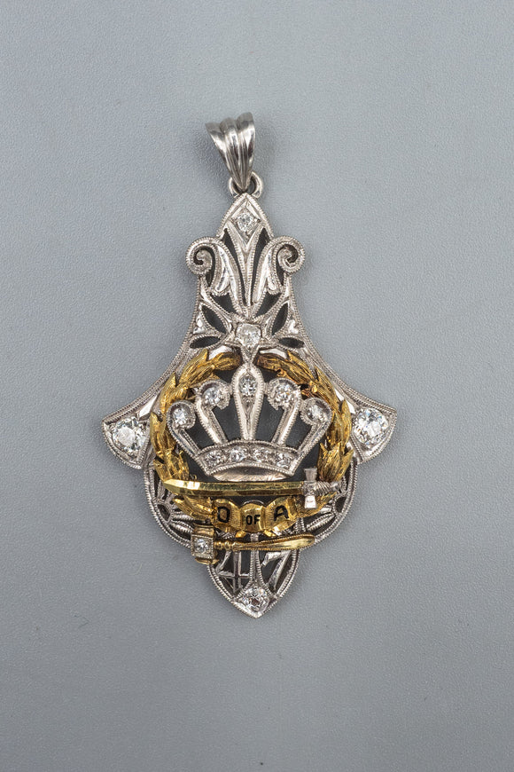 Art Deco Order of Amaranth Past Royal Matron Crown Platinum Diamond Pendant