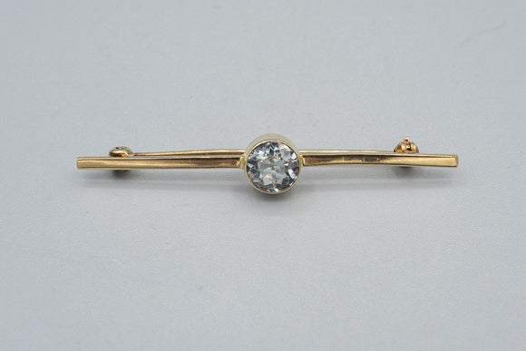 Vintage 14K Yellow Gold Old European Cut Natural Aquamarine Bar Brooch Pin