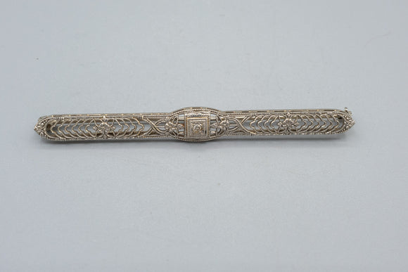 Vintage 14K White Gold Filigree Diamond Bar Brooch Pin