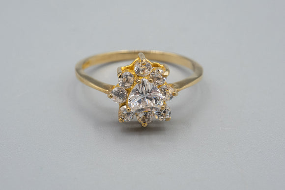 10K Yellow Gold CZ Heart Cluster Ring