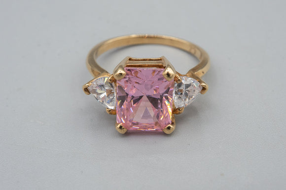 10K Yellow Gold Pink and Clear CZ Cocktail Ring