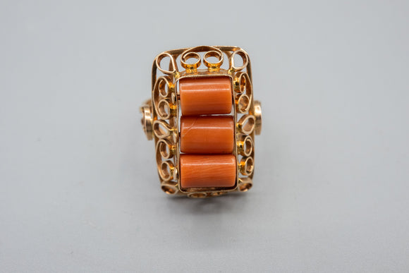 Vintage 14K Yellow Gold Natural Salman Coral Barrel Ring Hand Made In Poland