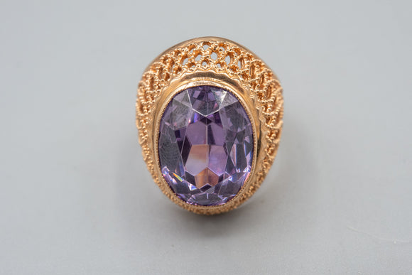 Vintage 14K Rose Gold Amethyst Open Work Ring Made In The Soviet Union Russian