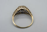 Antique 14K Yellow Gold Open Work with Old European .25ct Diamond
