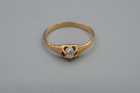 Victorian 14K Yellow Gold .15ct Rose Cut Diamond Solitaire Ring