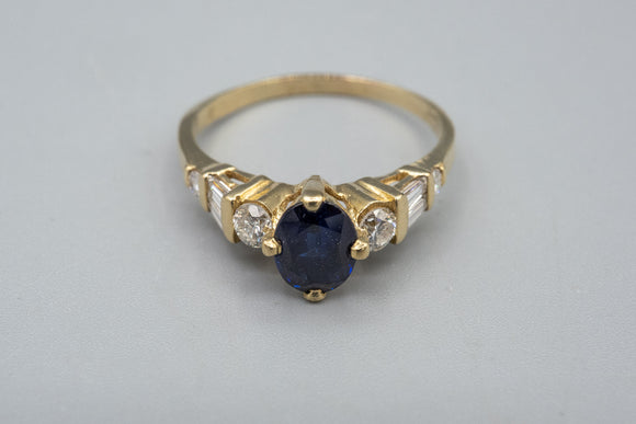 14K Yellow Gold Diamond And Sapphire Cocktail Ring