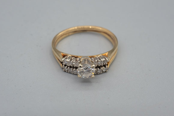Vintage 14K Yellow Gold Diamond Double Wedding Ring