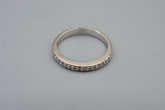 Vintage 10K White Gold Diamond Band Ring
