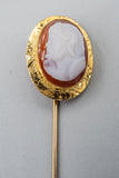 Vintage 14K Yellow Gold Cameo Centurion Stick Pin