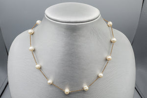14K Yellow Gold Station Baroque Pearl Necklace