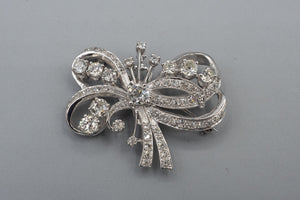 Art Deco 14K White Gold Old European 3.50cts Diamond Pendant Brooch Pin Combo