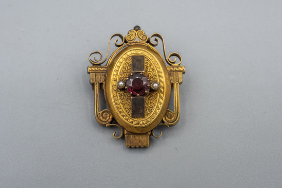 Antique Georgian 14K Yellow Gold Garnet Brooch Pin