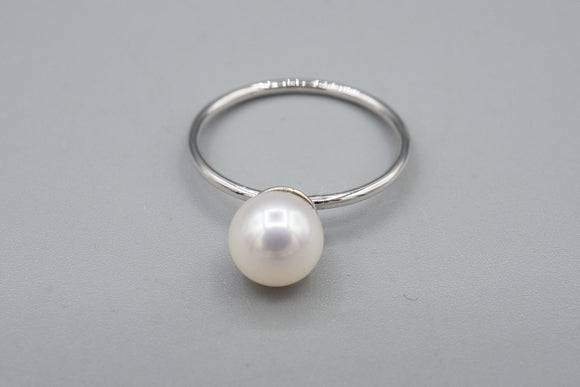 14K White Gold  6.8mm Pearl Solitaire Ring
