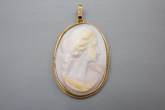 Vintage 14K Yellow Gold Carved Shell Goddess Cameo Pendant