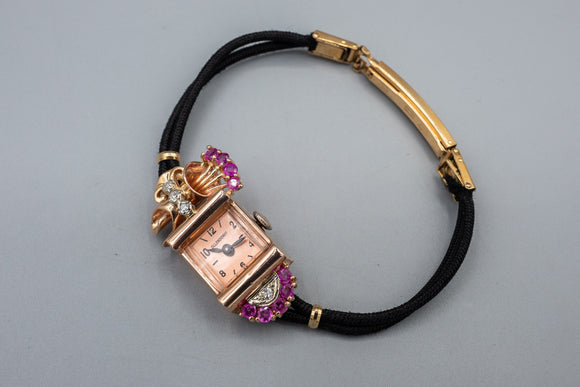 Art Deco 14K Rose Gold Ruby Diamond Watch by Ollendorff