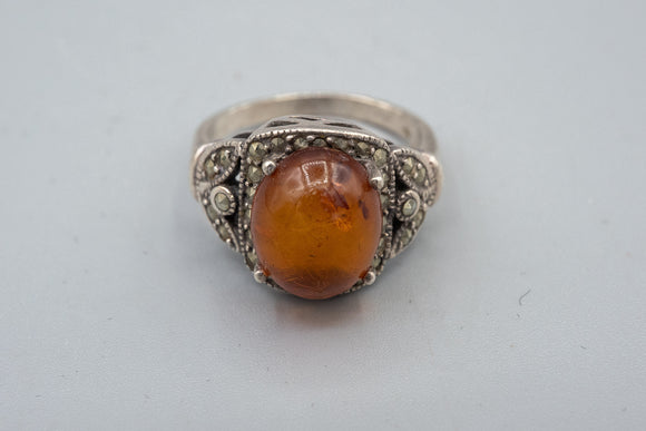 Vintage Honey Amber and Marcasite Sterling Silver Ring