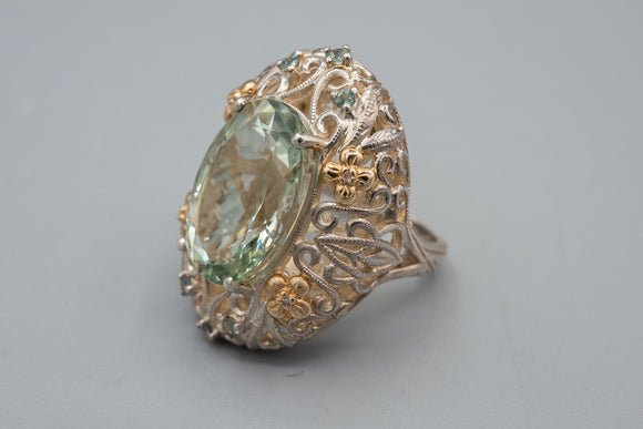 Designer Sterling Silver/ 14K Yellow Gold Prasiolite and Diamond Ring