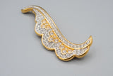 Signed Swan Swarovski Feather Swirl Wave Leaf Clear Crystal Brooch Pin
