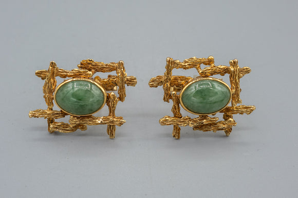 Vintage 14K Yellow Gold Jade Bark Finish Cufflinks Jadeite