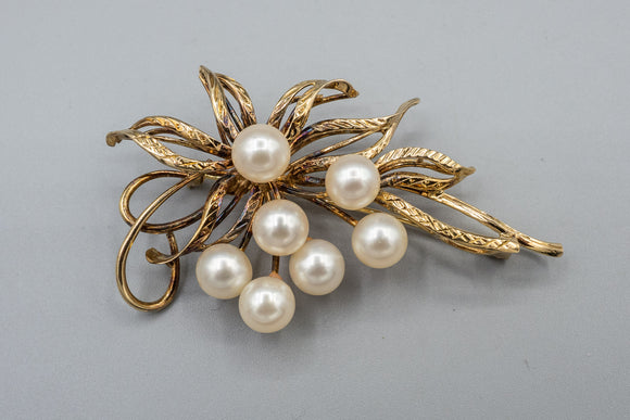 Vintage Natural Pearl 14K Gold Signed Pin Spray Brooch/Pendant