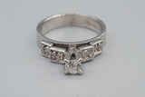 Art Deco 14K White Gold Old Mine Cut Diamond Ring
