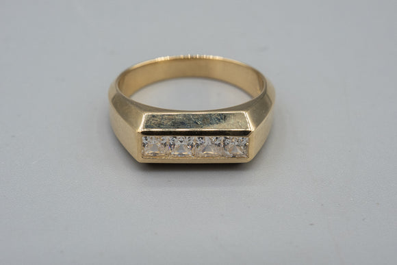 14K Yellow Gold CZ Modernist Ring