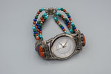 Vintage Southwestern Liberty 1911 Quoc Sterling Silver Multi Gemstone Watch QT