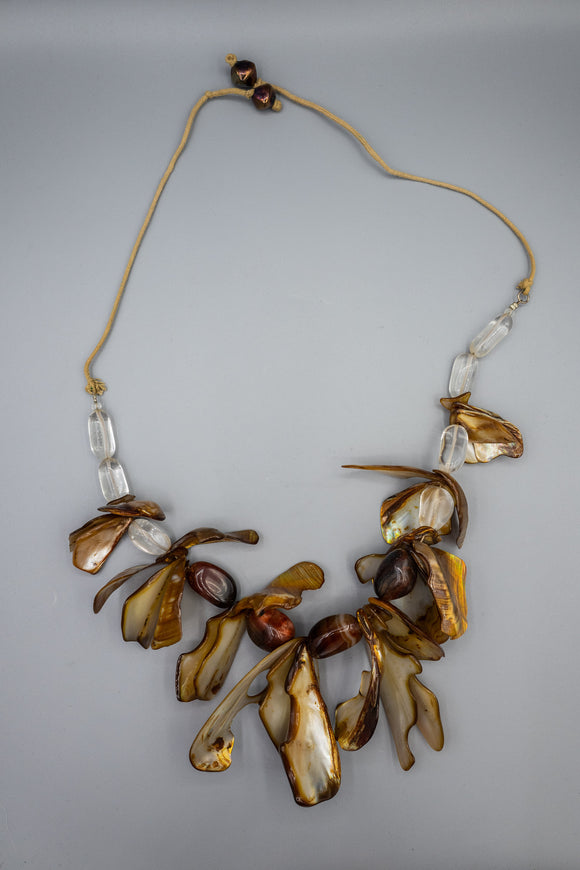 Agate, Shell, and Clear Quartz Necklace