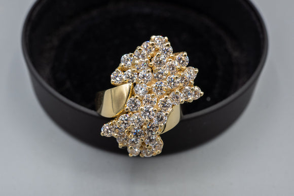 Chunky 14K Yellow Gold 3.45cts Cubic Zirconia Cocktail Ring