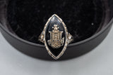Antique 18K White Gold Secret Owl Society Sorority Ring