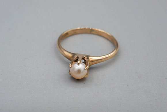 Antique Victorian M.B. Bryant 10K Yellow Gold Pearl Ring