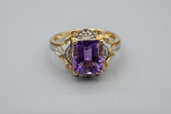 Lovely 10K Yellow and White Gold Amethyst Ring