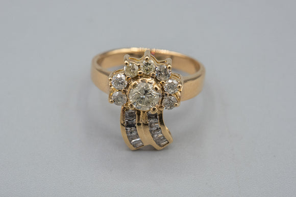 14K Yellow Flying Star Diamond Ring .62cts