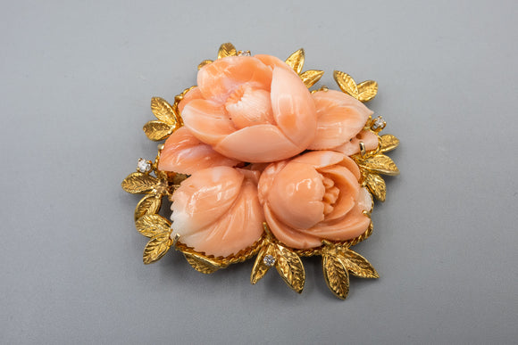 Stunning 14K Yellow Gold Carved Natural Coral Flower Diamond Brooch Pin