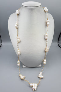 "Vintage Baroque Lustrous Pearl 14K Yellow Gold Station Necklace 32"" 98 Grams"