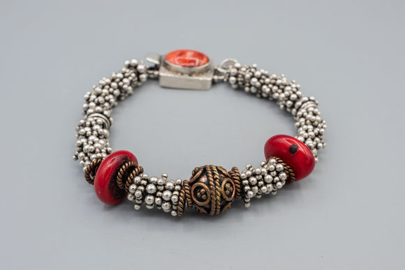Sterling Silver Signed Bracelet with Coral and Hamsa