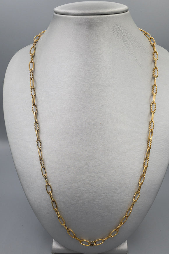 Vintage T Foreé Sterling Silver Vermeil Fancy Link Chain Necklace
