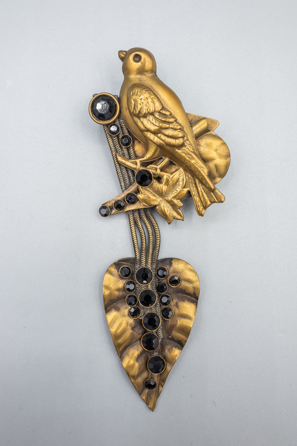 Vintage Jack Smile Brass Bird Leaf Pin Brooch