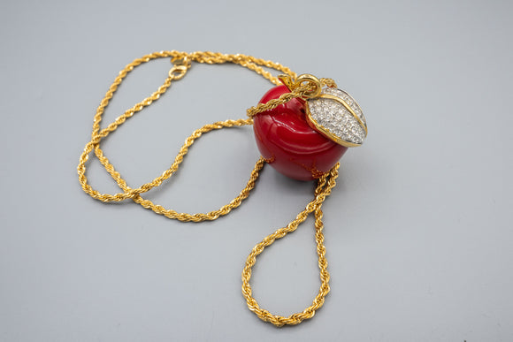 Kenneth Jay Lane Red Apple and Crystal Pendant Gold Plated Necklace