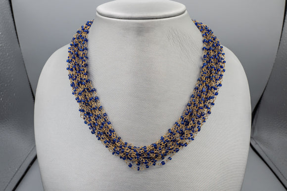 Vintage KJL Kenneth Jay Lane Blue Multi Strand Beaded Gold Tone Choker Necklace