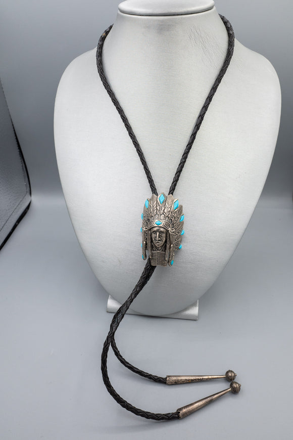 Sterling Silver Turquoise Native American Indian Chief Bolo Tie