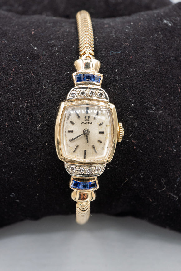Vintage 1960's Omega 14K Yellow Gold Case and Bracelet with Diamonds and Sapphires